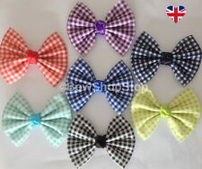 5 inch Gingham Ribbon School Hair Bow Elastic Bobbles Hair Clip Girl