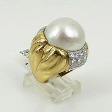 Vintage 1.50ct Diamond & 17mm Mabe Pearl 18K Gold Decorated Dome Ring - Size 5