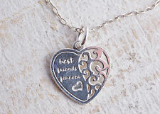 STERLING SILVER 925 BEST FRIENDS FOREVER HEART PENDANT CHAIN NECKLACE 925