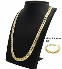 Miami Cuban link Chain & Bracelet Set 10mm 14k Gold Plated Necklace