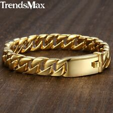 Mens Gold Silver 316L Stainless Steel Chain Bracelet 11mm Curb Cuban Link