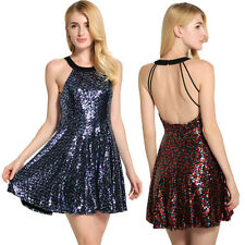 Women's Summer Sexy Halter Backless Sequins Cocktail Party Mini Dress Dreamed
