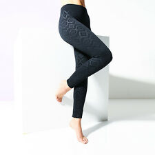 Womens Black Aztec Patterned Print Press Leggings Stretch Jeggings Opaque NEW
