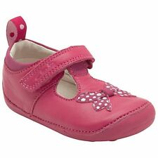 Clarks Infant Girls UK 3 & 5 Ida Sparkle Raspberry Pink Leather First Shoes  NEW