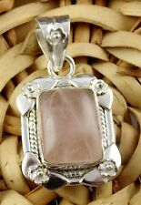 Natural Rose Pink Quartz Cabochon Gemstone 925 Sterling Silver Pendant