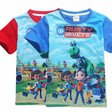 New Kids Boys Girls Rusty Rivets T- Shirts Tees Casual Cartoon Tops Clothes 3-9Y
