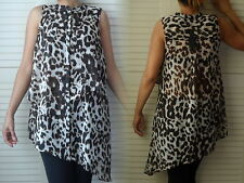 NEW WOMANS LADIES LIGHTWEIGHT SMART CASUAL SUMMER SLEEVELESS ANIMAL PRINT TOP