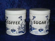 Blue willow canisters, Sugar,Coffee ceramic canisters, willow pattern