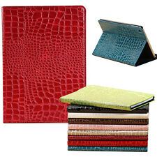 Crocodile Grain PU Leather Flip Stand Case Sleep/Wake Cover Skin For Apple iPad
