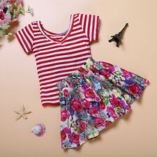 NEW Red Striped Top and Floral Skirt Set Baby Kid Child Girl Boy