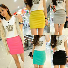 Sexy Womens Candy Color Seamless Stretch Tight Short Fitted Bodycon Skirt Mini