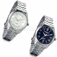 Fashion Stainless Steel Band Roman Luminous Dial Mens Quartz Analog Wrist Watch