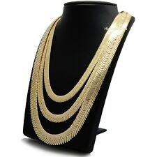 """Herringbone Chain 14K Gold Plated 9mm to 14mm 8"""" 20"""" 24"""" 30"""" Necklace"""