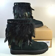 NIB UGG AUSTRALIA UGGS BLACK CLASSIC SHORT PEACOCK FEATHER BOOTS SZ 6 10 1015562