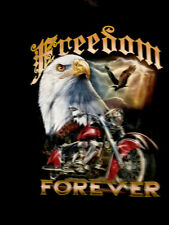 Motor Bike/ Eagle print short sleeve T-shirt black100% cotton Freedom Forever