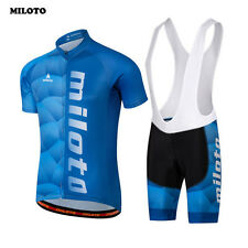 Cycling Bicycle Clothing Mens Bike Jersey Bib Shorts Set Team Wear Blue With Pad