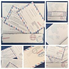 DISTRESSED Personalised Vintage Airmail Boarding Pass Ticket Wedding Invitations