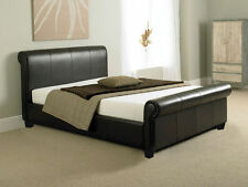 Brown Faux Leather Sleigh Bed 4FT Small Double With Mattress Options Available
