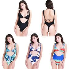 Women's Push Up Halter One-piece Swimsuit Brazilian Triangle Bikini Set Swimwear