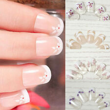 CLEARANCE 24 pcs Pre-designed Flowers French False Full Toe Nail Art Tips Medium