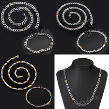 Fashion Men Woman's Gold Silver Stainless Steel Chain Necklace Bracelet Bangle
