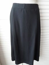 NEW WOMANS LADIES BLACK KNEE LENGTH SKIRT ELASTICATED WAIST SMALL TO PLUS SIZES