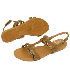 WOMENS FLAT BROWN GLADIATOR FLIP-FLOP SHOES SUMMER BEACH HOLIDAY SANDALS 3-8