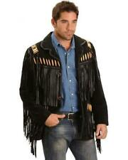 Mens Black Suede Western Style Leather Jacket With Fringes, Bones and Beads