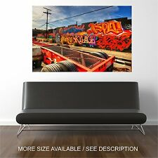 Canvas Print Picture Graffiti Wall Station Wheels -Unframed
