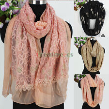 Fashion Chiffon Stitching Floral Mesh Glitter Lace Trim Long/Infinity Scarf Wrap