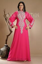 NEW GEORGETTE FANCY BRIDAL NEW ELEGANT CAFTAN ARABIAN ISLAMIC THOBE  DRESS  3836