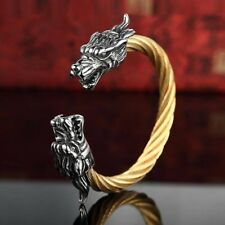 Vintage Punk 316l Stainless Steel Dragon Bracelets For Men Jewelry With Twisted