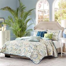 6pc Blue & Green Paisley Reversible Coverlet Quilt Set AND Decorative Pillows