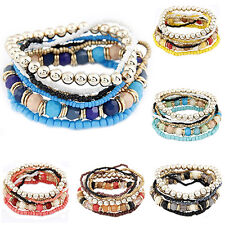 Women's Bohemia Multilayer Acrylic Beads Summer Beach Bracelet Bangle Healthy