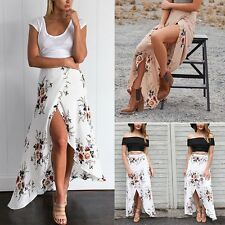 Retro Women's Summer Casual Floral Maxi Skirt Summer Beach Boho Long Skirt Dress