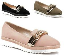 Womens Smart Jewel Diamante Flats Slip On Loafers Ladies Office Work Shoes Size