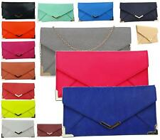 WOMENS LADIES FLAT FAUX LEATHER ENVELOPE CLUTCH BAG PROM EVENING BAG HANDBAG