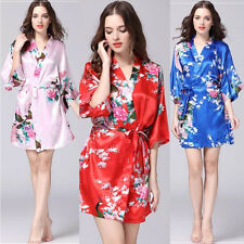Sexy Bridesmaid Peacock Kimono Robe Wedding Women Satin Silk Sleepwear