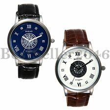Vintage Rhinestone Hollow Spider Web Dial Mens Leather Band Quartz Wrist Watch