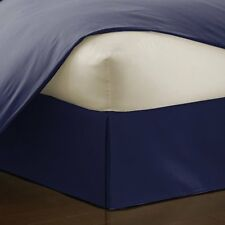 Sateen Weave Egyptian Cotton 1 Piece Bed Skirt Valance 1000 TC Navy Blue Solid