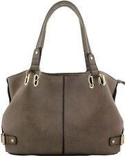 Chocolate or Cream Faux Leather Handheld Handbag with Large Eyelet Detail