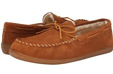 minnetonka men's moccasins  brown suede upper  w/faux fur lining  3902