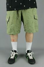 Three Sixty 360 Beige Green Plaid Cotton Cargo Shorts Loose Fit Baggy Skate Mens