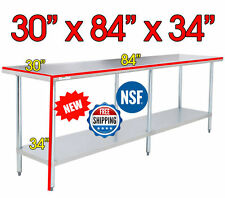 """30"""" x 84"""" NSF Regency Durable Stainless Steel Commercial Kitchen Work Prep Table"""