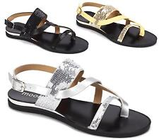 LADIES FLAT SEQUINED BAND STRAPPY GLADIATOR SUMMER BUCKLE FLIP FLOP SANDALS