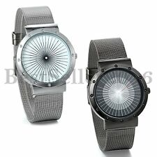 Fashion Ultra Thin Stainless Steel Mesh Womens Mens Analog Quartz Wrist Watch
