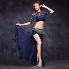 Sexy Lace 2017 Women Belly Dance Costumes 2pics Off Shoulder top&long Skirt  M L
