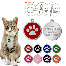 Round Paw Print Custom Dog ID Tags Disc Cat Tag for Pet Collars Engraved Free