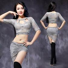 New Sexy hot Women Belly Dance Costume Set Practice Lace 2Pics Top Skirt M L