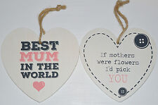 Mum Wooden Heart Sign Mother's Day Love Hanging Plaque Wall Sign Gift White
